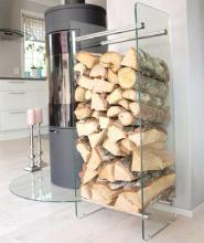 Fristående förvaringshylla/vedstaplare med två glassidor